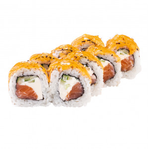 Spicy roll with salmon, photo