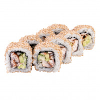 California roll with eel in sesame, photo