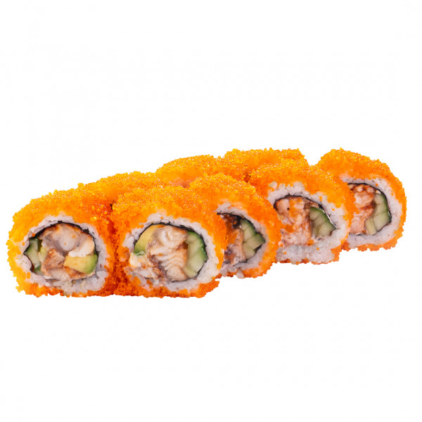 California roll with eel in caviar in Dnipro, photo