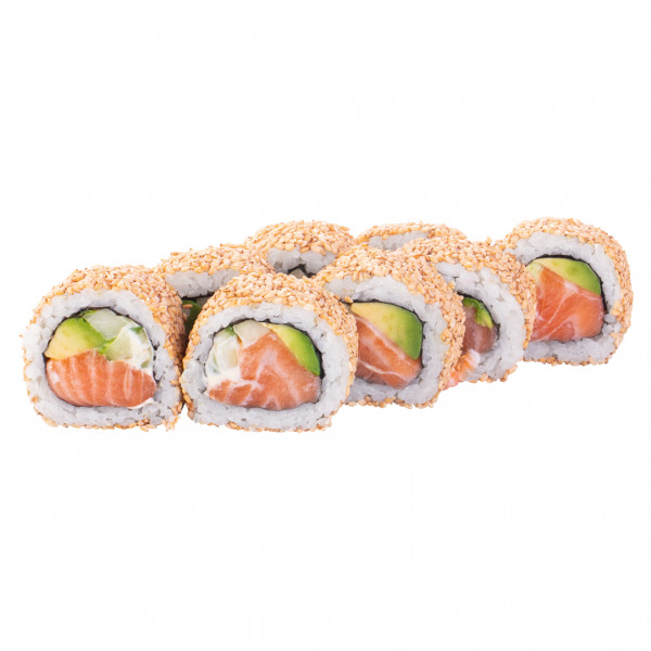 California roll with salmon in sesame in Kharkiv, photo