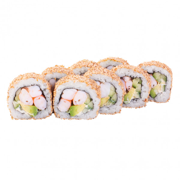 California roll with tiger shrimp in sesame in Kharkiv, photo