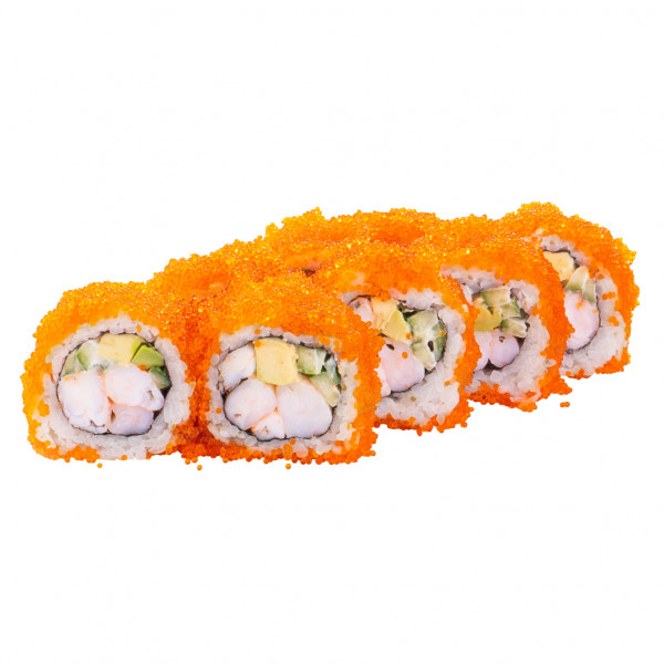 California Roll with tiger shrimp in caviar in Kharkiv, photo