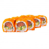 California roll with salmon in caviar, photo